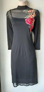 Ladies-black-dress-shift-knee-calf-length-embroidered-boho-long-sleeve-16