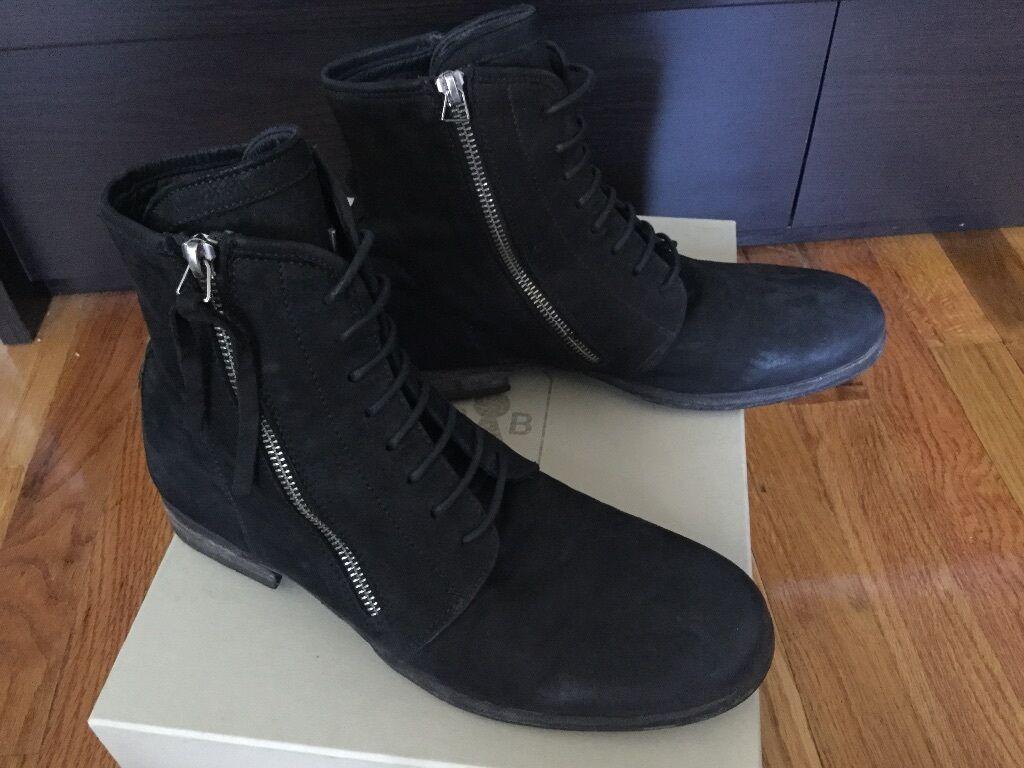 Bruno Bordese para Hombres  Cuero Negro Nubuck Cremallera Tobillo botas 7 US 40 EU Italia