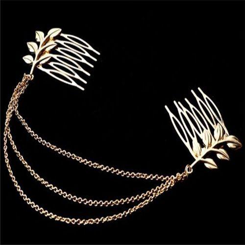 Nouveau Femmes Métal Doré Pampilles Feuilles spéciales Comb Cuff Band Chaîne Bandeau bijoux