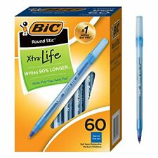 Bic Blue Ink Round Stic Xtra Life Ball Pen Medium Point 10 Mm 60 Ct Pens