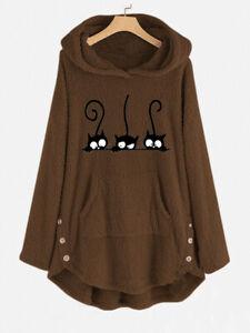Hiver-Femme-Sweat-shirt-Chaud-Peluche-Haut-a-capuche-Imprime-Manche-Longue-Plus