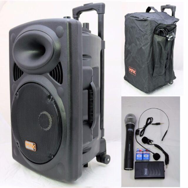 mak 1200w portable rechargeable bluetooth pa dj speaker system for sale online ebay. Black Bedroom Furniture Sets. Home Design Ideas