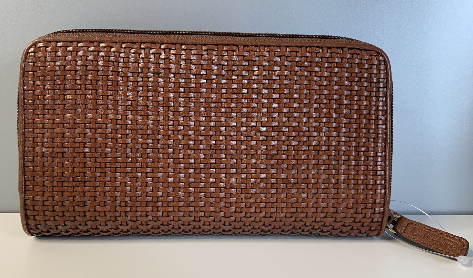 New Talbots Brown Woven Leather Wallet