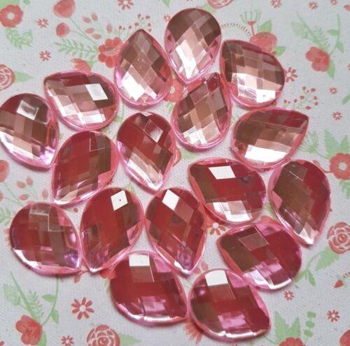 13x18mm FLATBACK TEARDROP Acrylic Crystal Rhinestone Embellishment Gem Cabochon