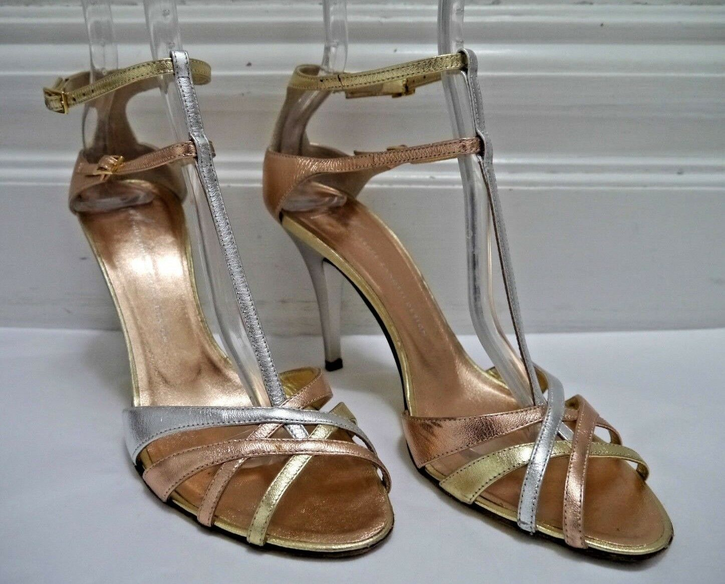 GIUSEPPE ZANOTTI silver gold pink gold metallic leather strappy heels sandals 8