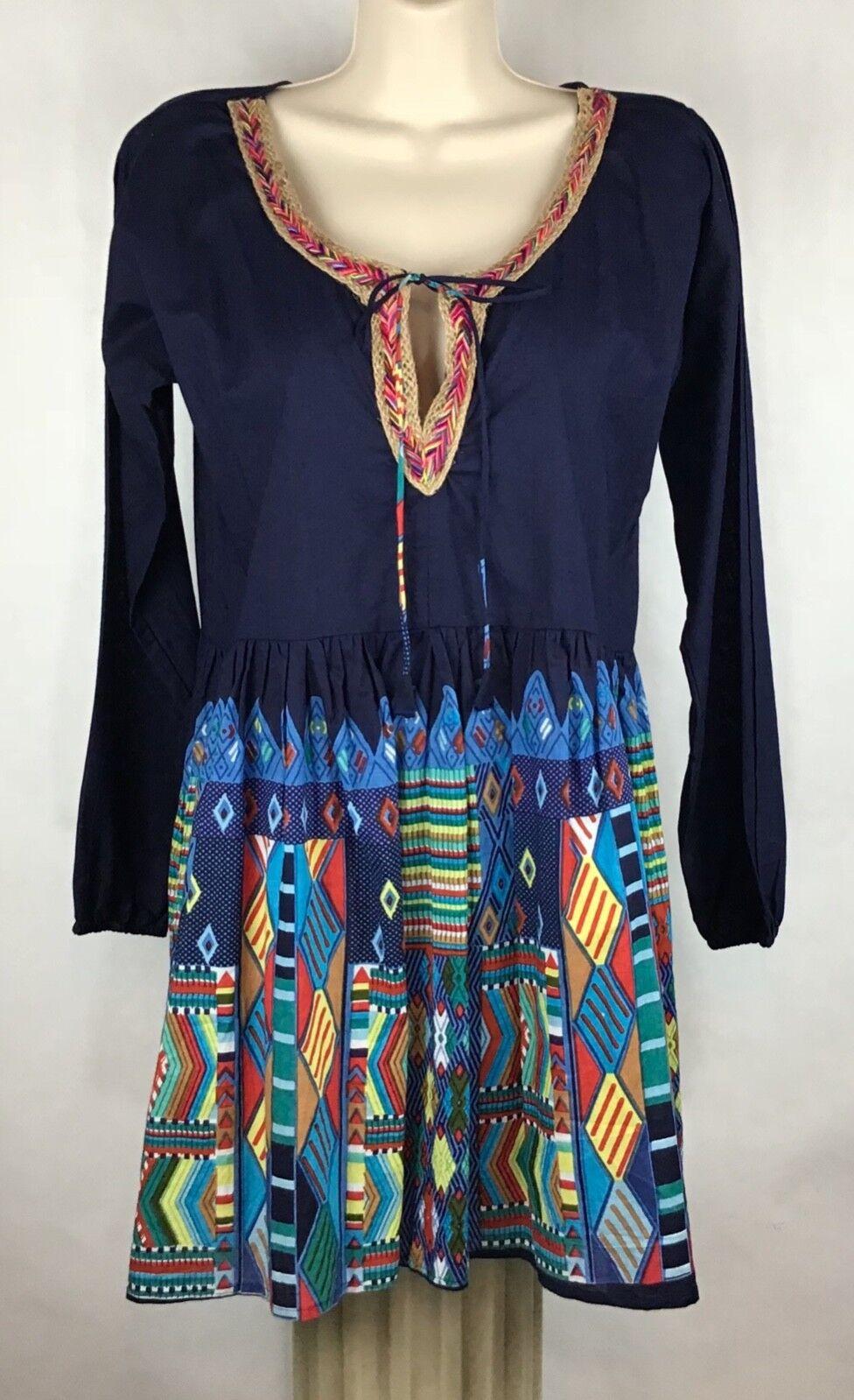 Velzera Womens M Tunic Top BOHO Babydoll Peasant Blouse Keyhole Tie Front A27-25