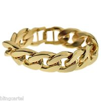 Alloy 20mm Wide Cuban Link Big Gold Finish Large Thick Men's 8.5 Curb Bracelet