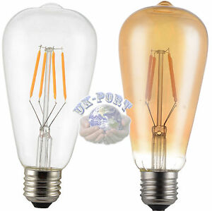 E27-Retro-Filament-LED-Bulb-4W-6W-Dimmable-Non-Dimmable-Clear-Amber-Glass-cover