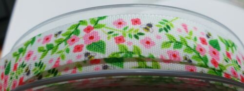 Flower Bee Ribbon Width 15mm by Berisfords for Habicraft  Various Lengths