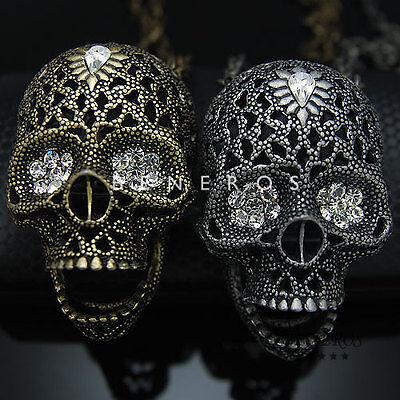 Skull Head Pendant Chain Necklace Gold Silver Mens Biker Hip Hop Faishon Jewelry