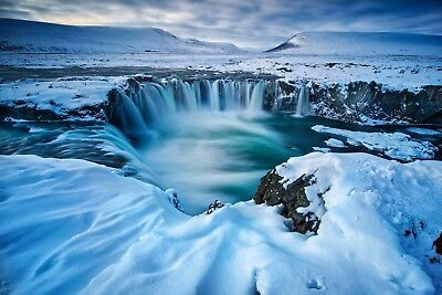 Iceland Snow Mountain Landscape Wall Art Canvas Pictures Winter Waterfall