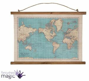 Sass belle vintage collection world map wall hanging canvas la imagen se est cargando sass amp belle vintage de coleccion mapa mundial gumiabroncs Images