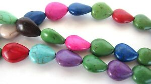 Three-15-inch-Strands-Multicolor-Dyed-Magnesite-Howlite-Oval-Beads-12mm-Boho-DIY