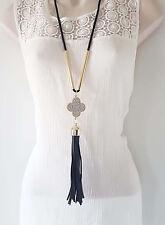 """Gorgeous 30"""" black & gold tone diamante & faux leather tassel pendant necklace"""
