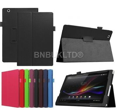 Leather Folio Case Stand Cover For Sony Xperia Tablets