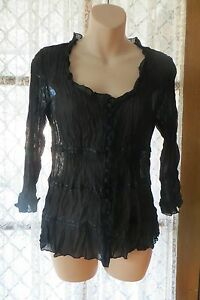 VINTAGE-40-039-S-Style-KATIES-Black-Crinkle-TOP-Size-8-REDUCED