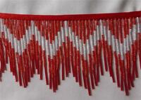 Striking Bright Red And Silver 4 1/2 Glass Beaded Fringe Trim 444