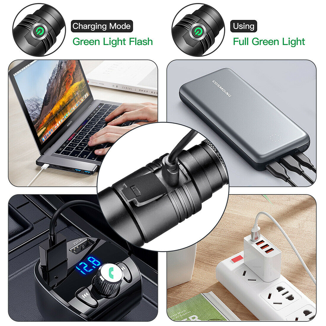 Image 6 - 395nm UV Light Blacklight Tactical LED Flashlight Rechargeable 18650 Torch Lamp