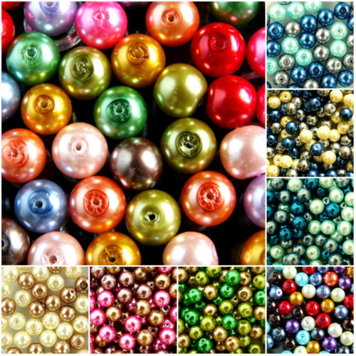 COCOA~ GLASS PEARL~ ROUND BEADS~OR ~CHOOSE MIXED SET 10 MM BEIGE MIXED~ PINK