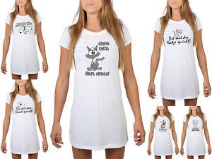 Details Zu Damen Nachtshirt Lustiges Nachthemd Tiere Tierische Sprüche Hunde Katzen