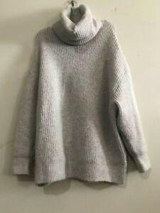 Zara-Knit-Size-S-Gray-Wool-Blend-Turtle-Neck-Sweater-Women-Ribbed-Stylish-Modern