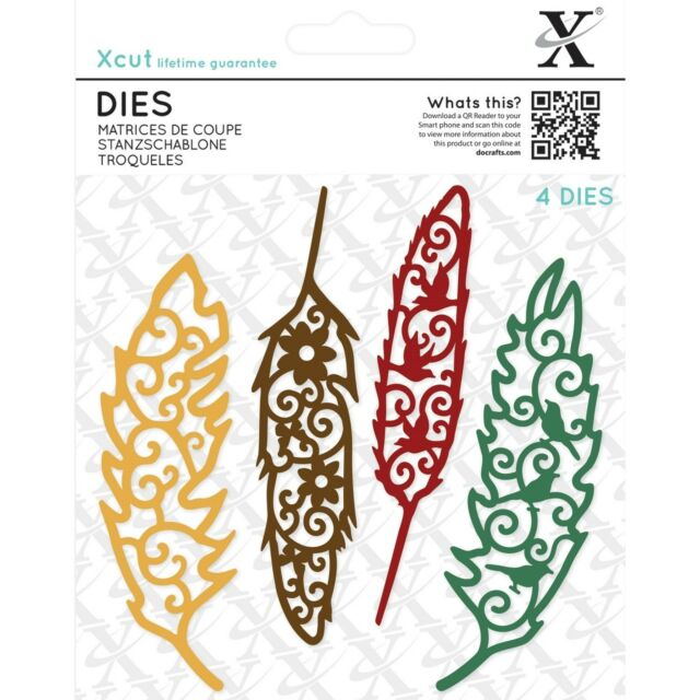 DOCRAFTS XCUT DIES FILIGREE FEATHERS - 4 DIE SET NEW 2016