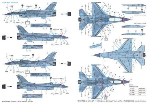 Techmod Decals 1//48 GENERAL DYNAMICS F-16 BLOCK 52 Fighter POLISH AF STENCILS