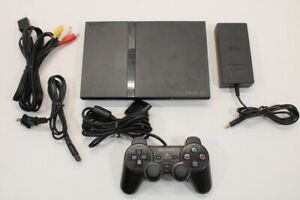 Sony PS2 SCPH-70000 Black Slim Console Cont AC AV Bundle Japan Import 2PC86