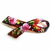 Oriental Vintage Hand-Painted Flower Rhinestone Barrette Hair Clip Pin Accessory
