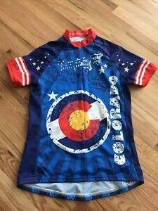 ScudoPro Women's Cycling Jersey Size M Blue Yellow Red Colorado SS EUC