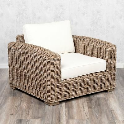 Lounge Sessel LIVING Kubu Grey Rattan in Grey ca. B90cm mit