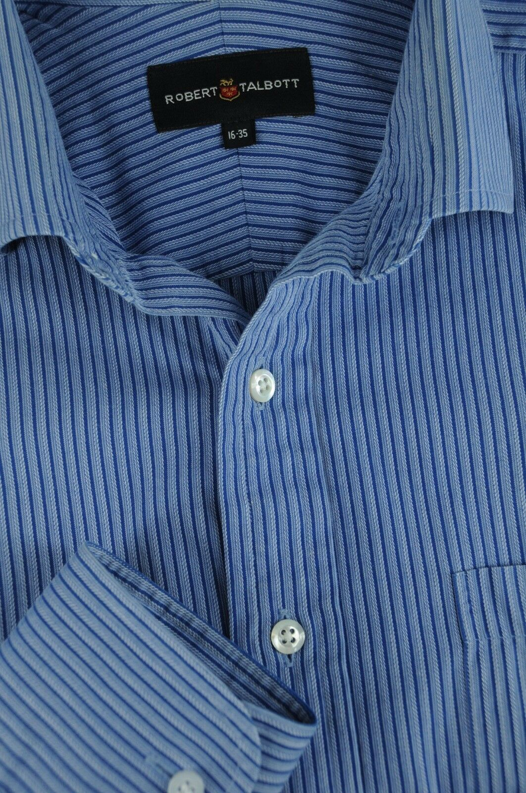 Robert Talbott Men's Royal bluee Striped Cotton Dress Shirt 16 x 35