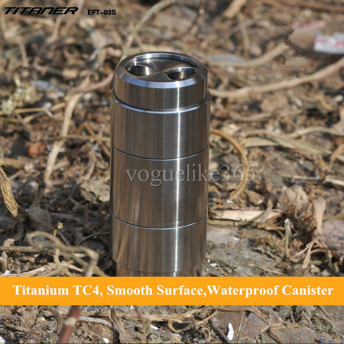 TITANER Titanium Waterproof CR123A Battery Box Container Capsule Seal Canister