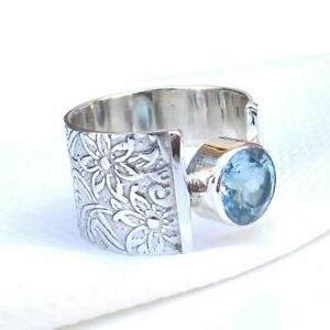 Blue-Topaz-Stone-Ring-Solid-925-Sterling-Silver-Ring-Band-Ring-Handmade-Ring