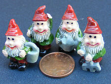 1:12 Scale Set Of 4 Assorted Gnomes Pixies Dolls House Fairy Garden Accessory N