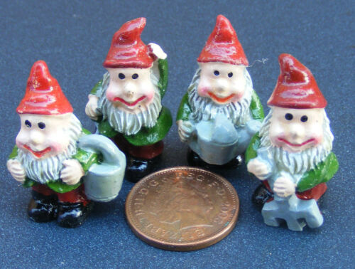 1:12 Scale Set Of 4 Assorted Gnomes Pixies Tumdee Dolls House Fairy Garden N