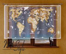 Kids Children's Net Curtain World Map  White / Beige Window Room Decoration
