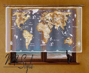image is loading kids children 039 s net curtain world map
