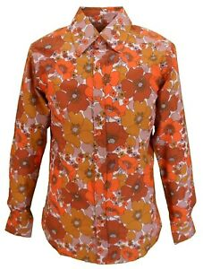 Mens-70s-Mens-Copper-and-Brown-Psychedelic-Floral-Shirt