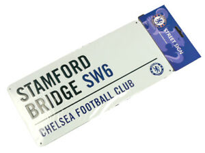 Chelsea Fc Club De Football Blanc Stamford Bridge Metal Wall Street Signe Offici Bon Pour AntipyréTique Et Sucette De La Gorge