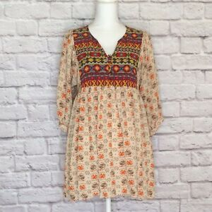 Umgee-Large-Babydoll-Top-Tunic-Floral-Print-Boho-Bell-Sleeve-Taupe-Multicolor-L