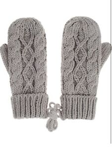 Gray-Mittens-Womens-One-Size-Knit-Knitted-Winter-Warm-Lined-Thick