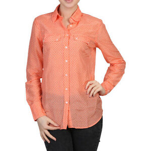 FRED PERRY Damen Shirt Hemd Langarmshirt Freizeithemd, orange, Lienen | eBay