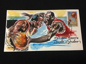 1992 NBA Playoffs Dexler vs Jordan 1992 Hand Painted Wild Horse Cachet #115\146