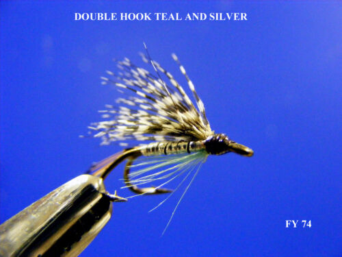 FY74 FLY FISHING FLIES TEAL BLUE AND SILVER DOUBLE HOOK FLIES X 3 SIZE 12