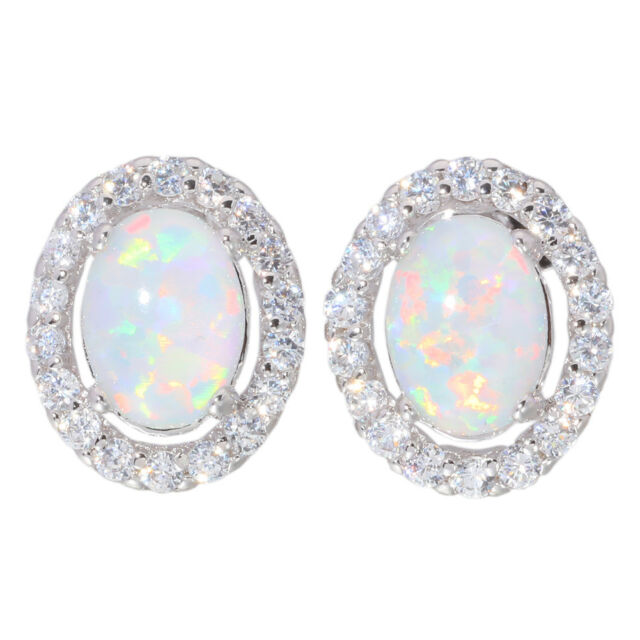 White Fire Opal Zircon Women Gemstone Silver Stud Earrings 12mm OH2007