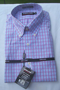 NWT KIRKLAND NON-IRON 80/2 PLY BUTTON DOWN DRESS SHIRT- BLUE/RED PLAID- 15.5 33