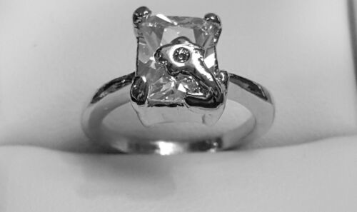 Engagement Ring 18 K Silver Plated Cubic Zirconia Size 7.5 Emerald Cut Solitaire
