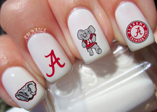Alabama Crimson Tide Nail Art Stickers Transfers Decals Set of 52 - Alabama Crimson Tide Nail Art Stickers Transfers Decals Set Of 52 EBay