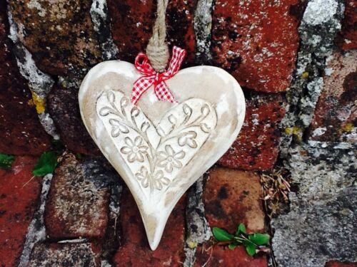 CUTE LARGE CARVED MANGO WOODEN HANGING HEART WITH WHITE WASH FINISH
